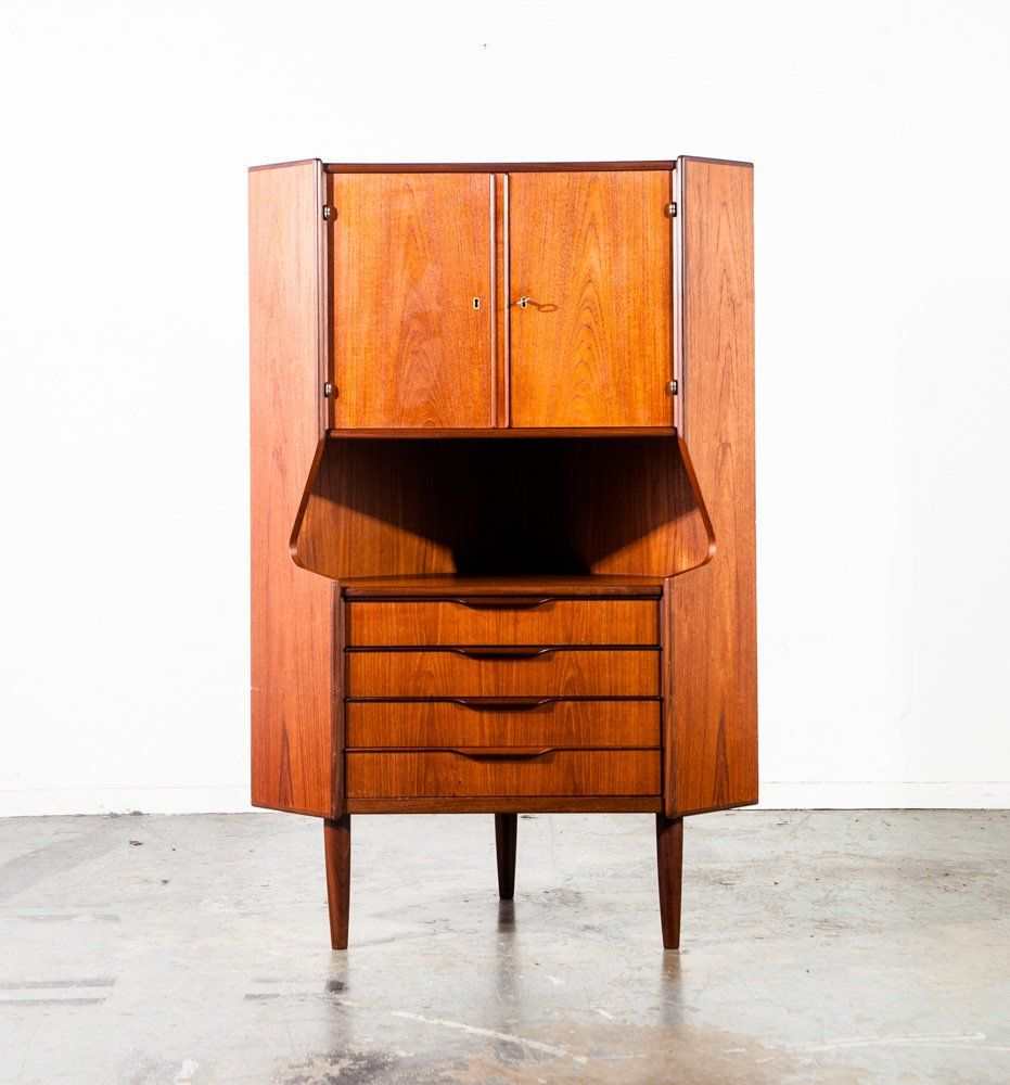 Mid Century Danish Modern Corner Cabinet Teak Rosewood Locking Bar