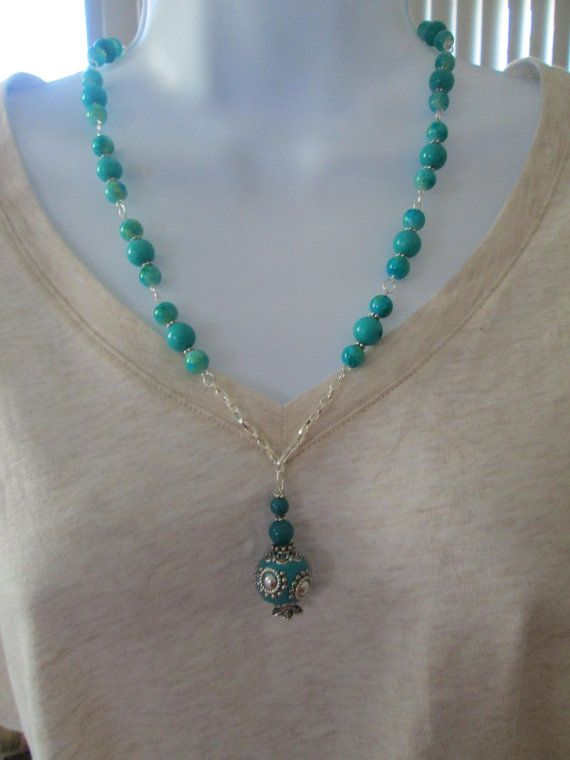 Genie in a Bottle Charm Beaded Necklace by BeadedDesignsJacquie, $18.00