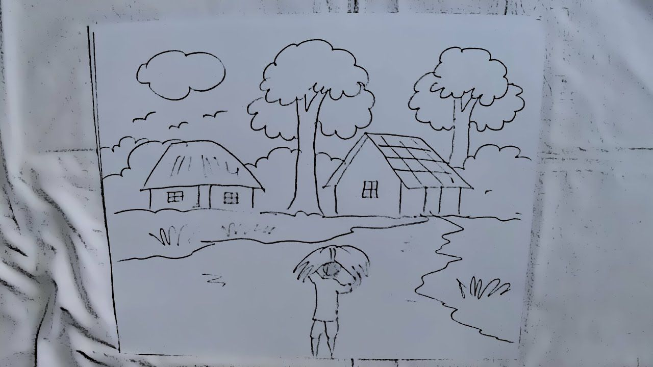 How to draw a village scenery with a figure for kids in 2 minutes easy