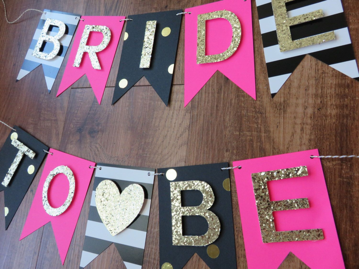 Bridal shower party supplies - Kate Spade Party Theme Bride To Be Banner Pink Gold Black White Decorations Bridal Shower Bachelorette Banner