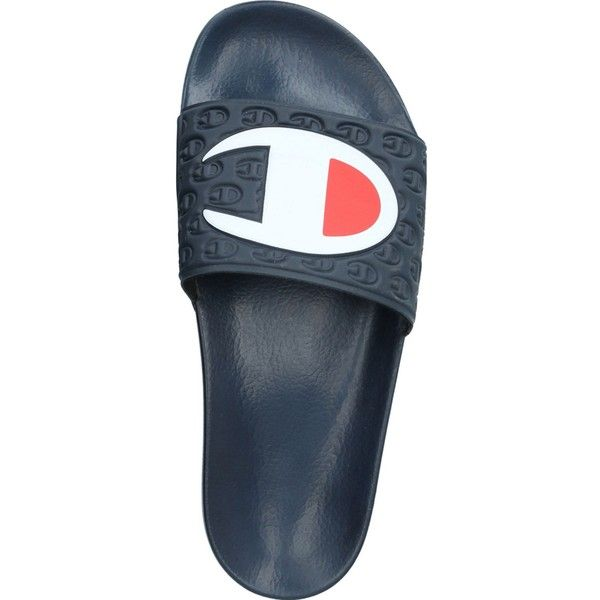 06f726913bacf Champion Logo rubber pool slides ( 34) ❤ liked on Polyvore featuring shoes
