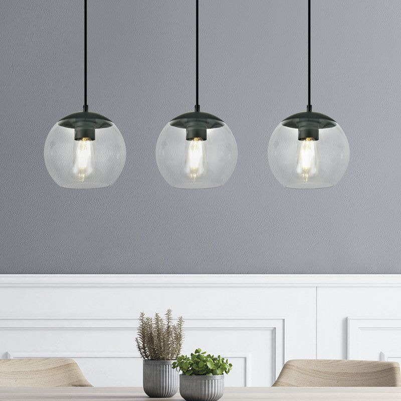 Thursa 3 Light Kitchen Island Globe Pendant Globe Pendant Kitchen Island Lighting Pendant Shape Pendant Light