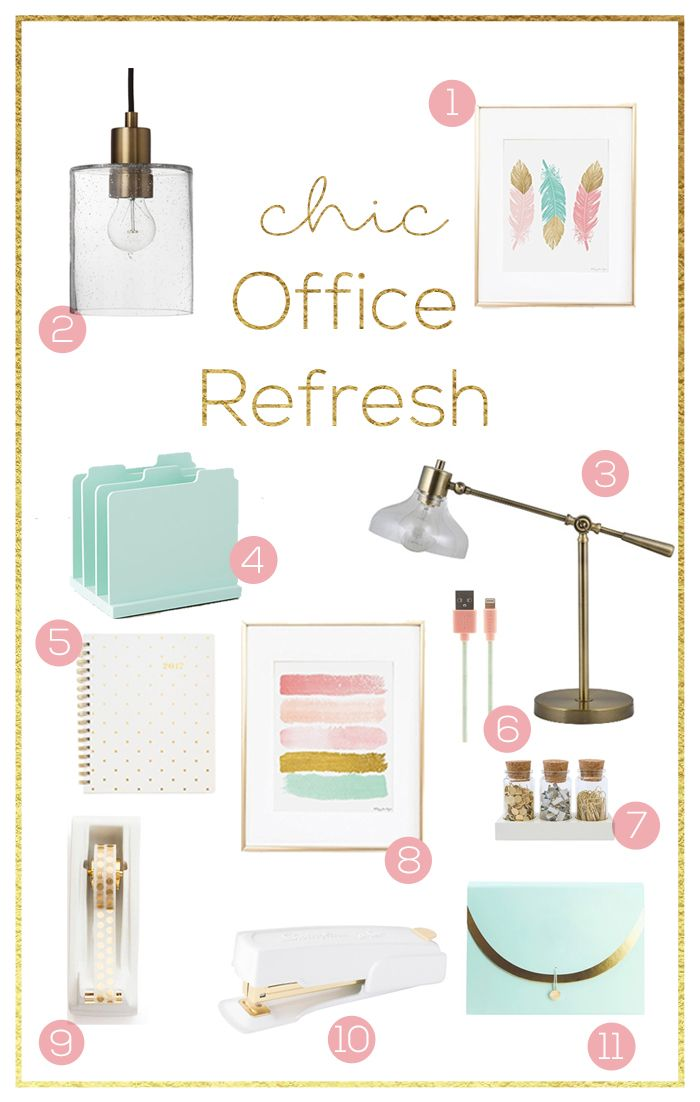 Office Update Refresh Mint Pink Coral Gold Inbetweenchaos Com Cute Office Decor Chic Office Decor Gold Office Decor