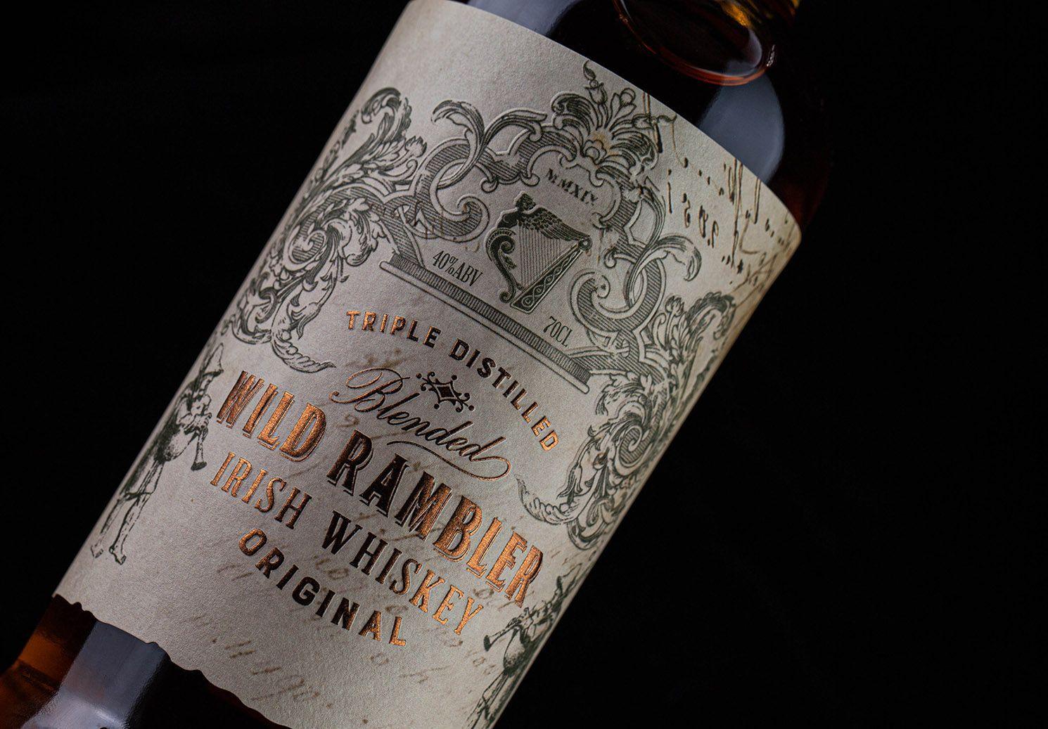 Thinkboldstudio Wild Rambler World Brand Design Society Triple Distilled And Non Chill Filtered Wild Rambler Irish Whiskey Has Been Produced Using Only T With Images Irish Whiskey Whiskey Packaging