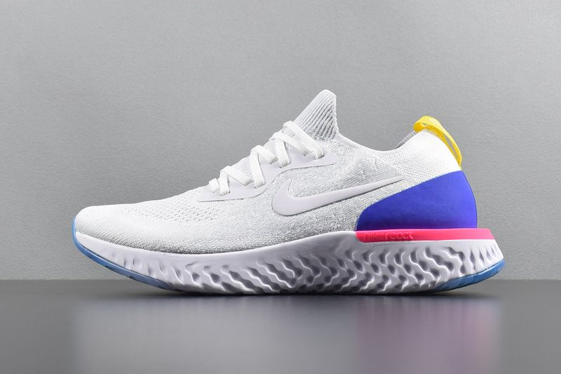 88a8aca4bae7 2018 New Arrival Nike Epic React Flyknit White Racer Blue Pink AQ0067-101