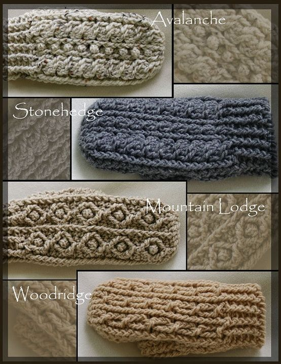 Rugged Mountain Mittens Collection Crochet Pattern Crochet Mitts Crochet Mittens Crochet Cable