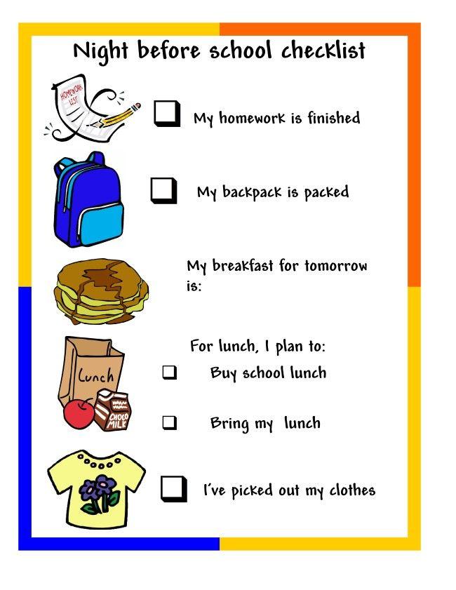 Night before school checklist | Back to school | School ...