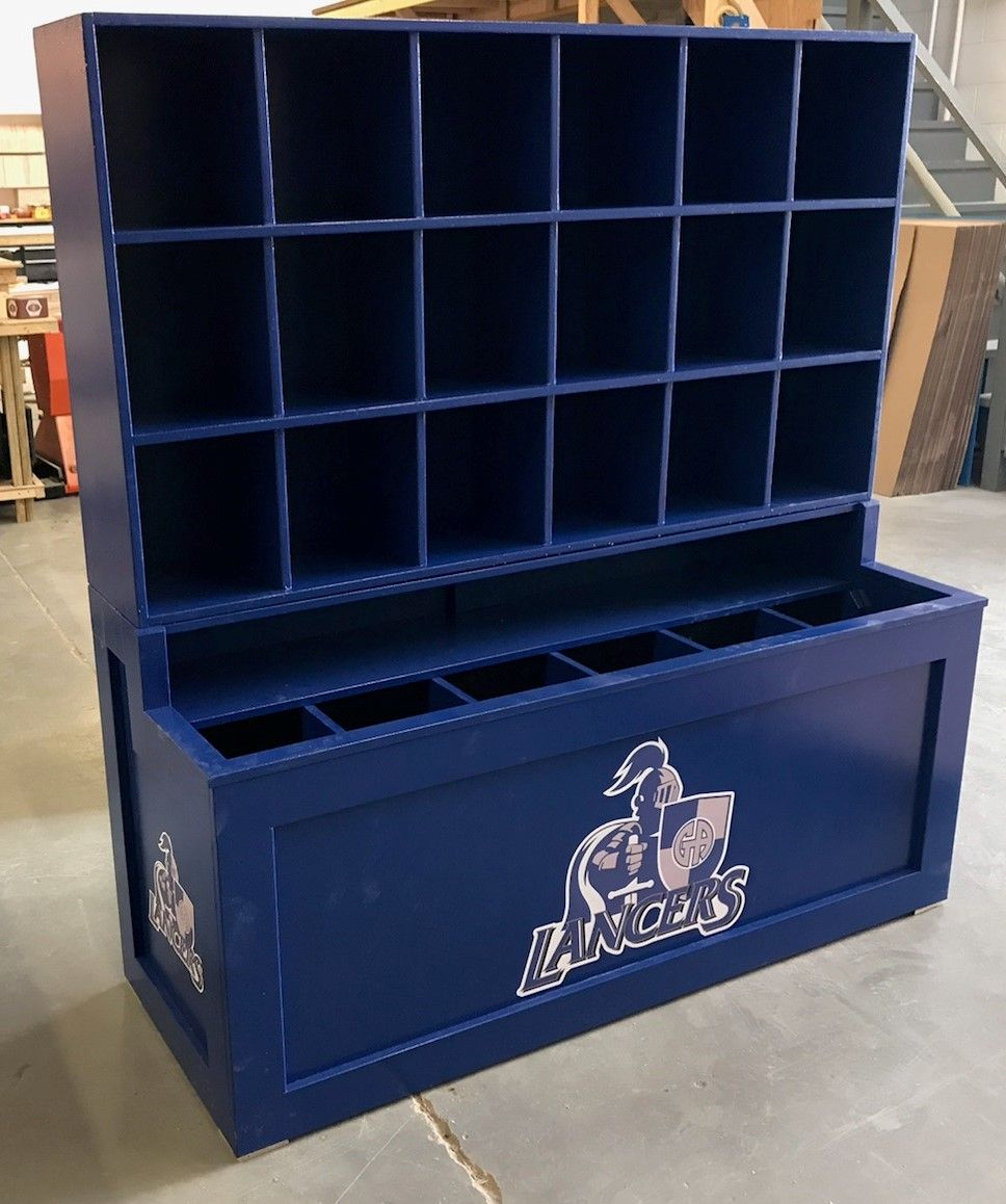 Gilmour Academy Lancers Gates Mills Ohio Dugout Storage Helmet And Bat Cubbies Check Out Our Website For More Dugout Options Baseball Dugout Dugout Bat