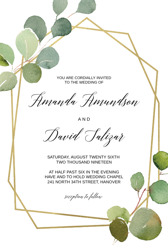 Geometric Eucalyptus Invitation Template Greetings Island Eucalyptus Wedding Invitation Wedding Invitations Leaves Free Wedding Invitations