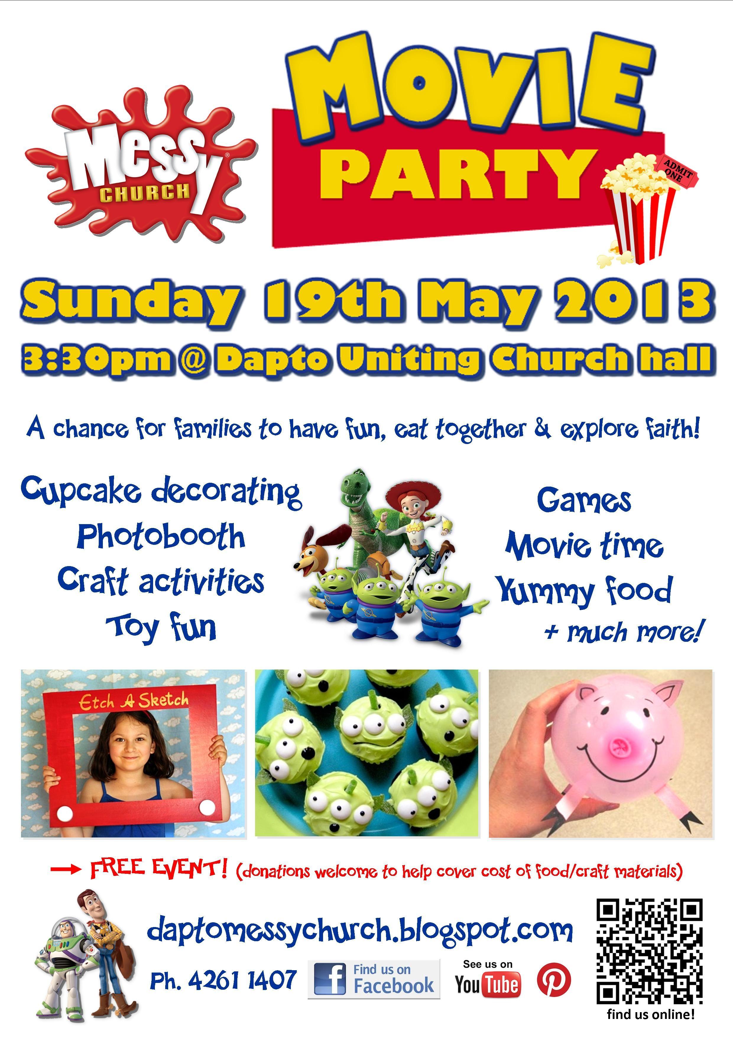 Dapto Messy Church Toy Story Themed Movie Party Invite (May