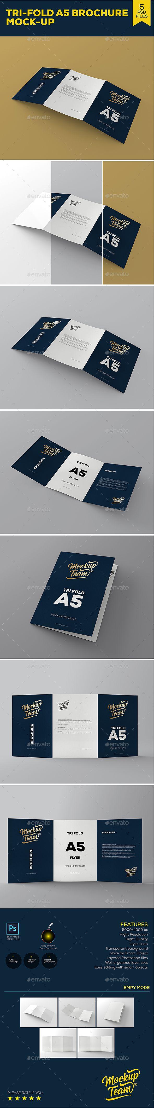Download Tri Fold A5 Brochure Mock Up 2 Mockup Photoshop Trifold Brochures Mockups