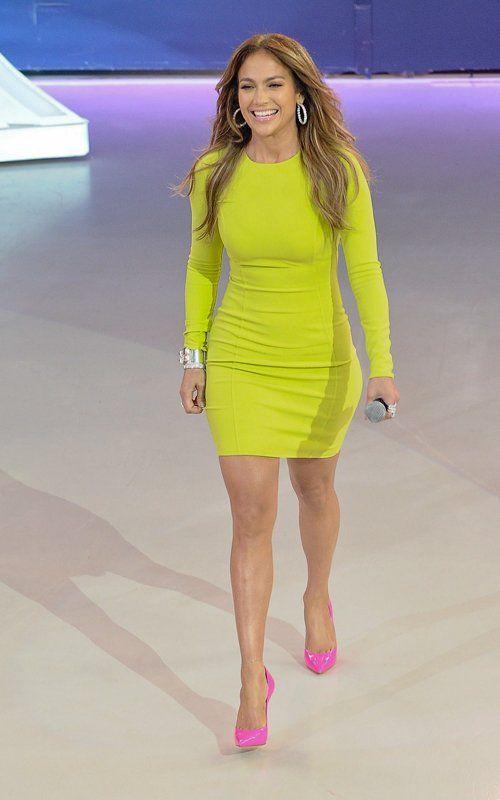 Neon Colors For Spring Jennifer Lopez Rocks Michael Kors Dress Manolo Blahnik Pumps Rucuss