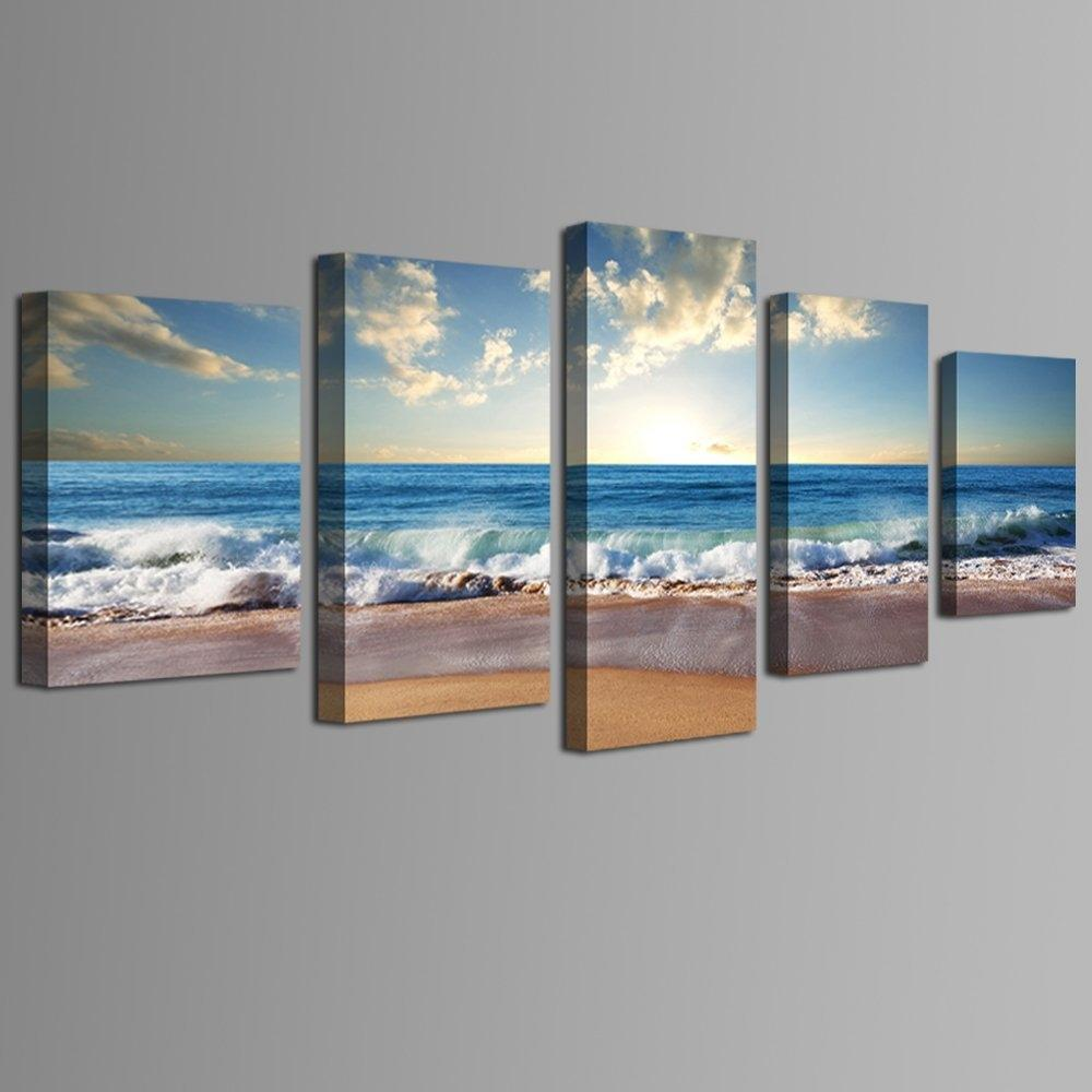 Beach Ocean Seascape 5-Panel Framed Canvas Print Wall Art | Framed ...