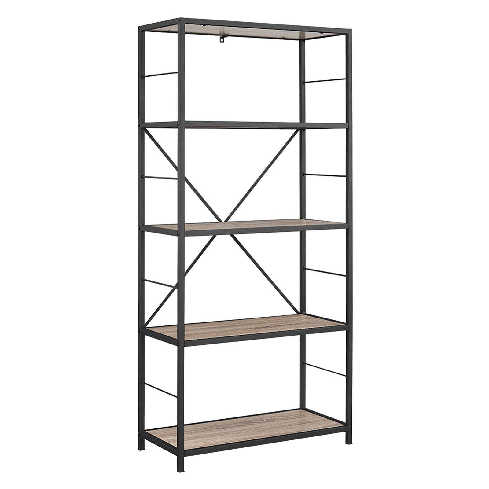 Walker Edison 60 In Rustic Media Bookshelf Products In 2019