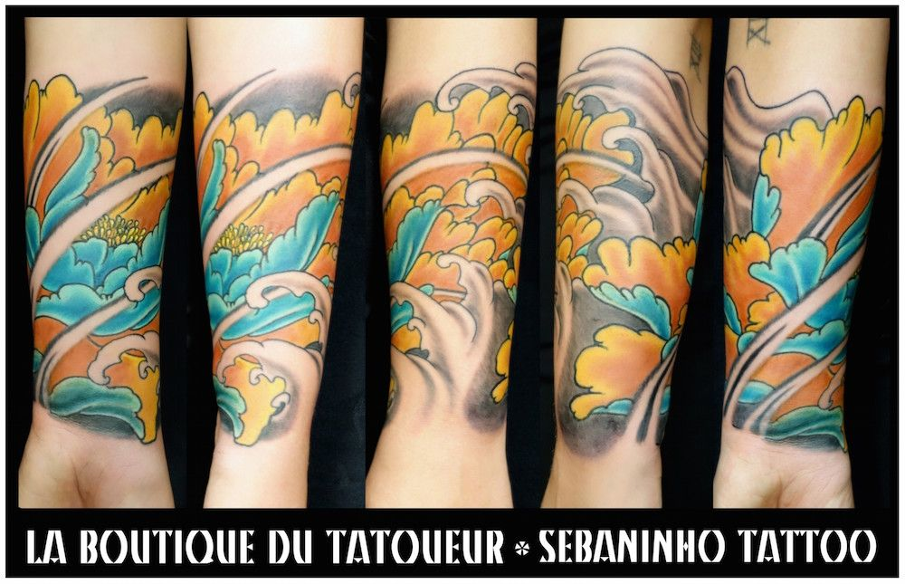 Tatouage japonais Pivoine sur avant,bras Sebaninho Tattoo