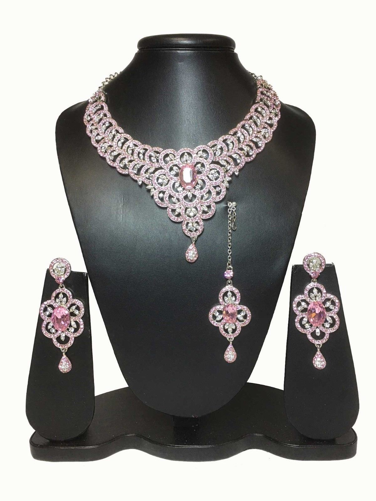 Indian Baby Pink necklace set Silver plating earring tikka ...