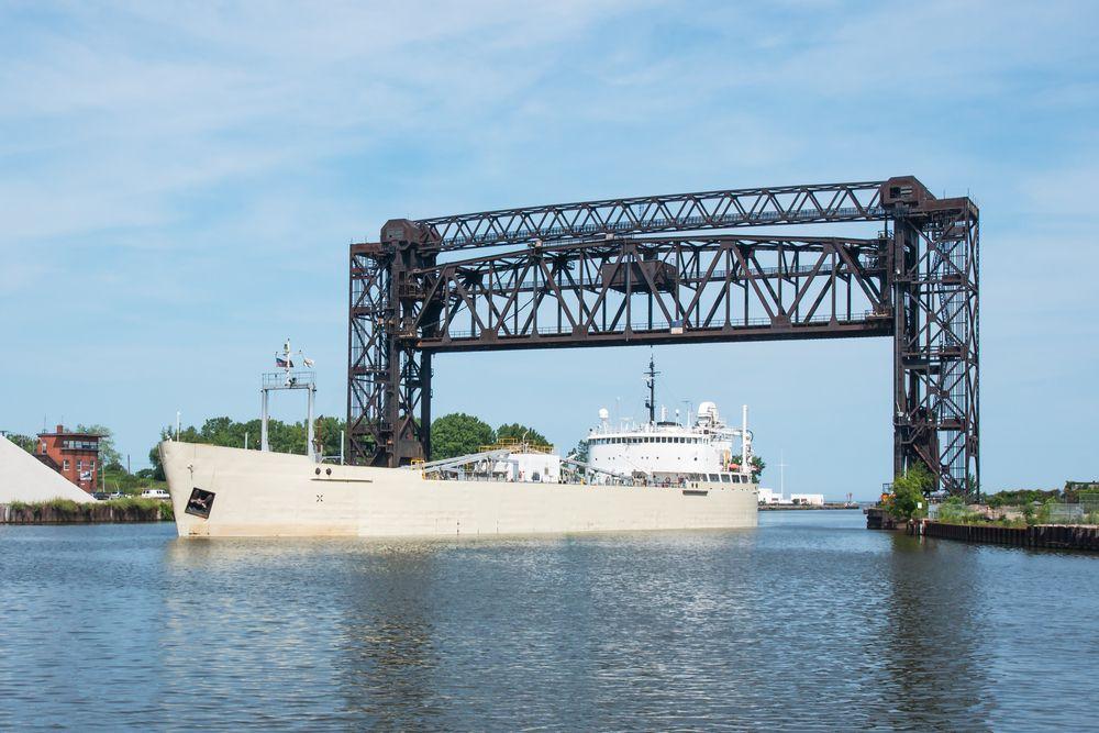Cleveland ohio a great lakes freighter carrying cement