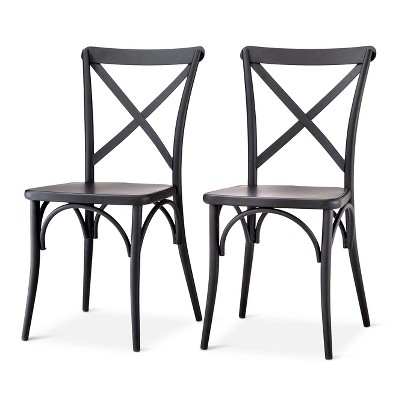 Industrial Bistro Chairs Desk Chair Diy French Metal Matte Black Set Of 2 The Shop