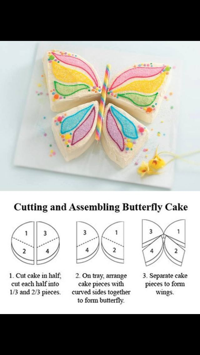 Easy butterfly shaped cake Cake decorating Pinterest