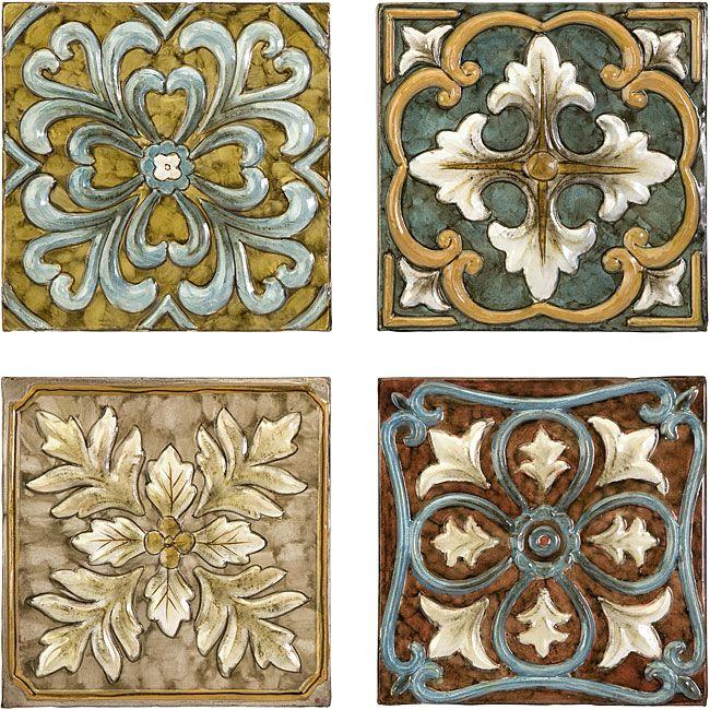 Large Decorative Tiles Set 4 Old Spanish Mission Rosette Design Wall Tiles  Front Door