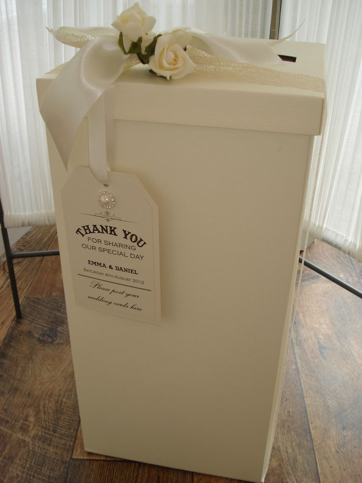 Wedding Post Box Including Vintage Style Personalised Tag Ribbon And Rose