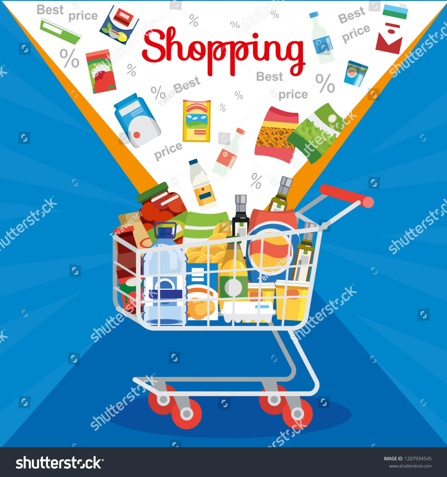 e4f0c79ef8bc6 Shopping Food Products on Sale Flat Vector Concept with Groceries Falling  in Supermarket Cart or Trolley Illustration in Blue Background.