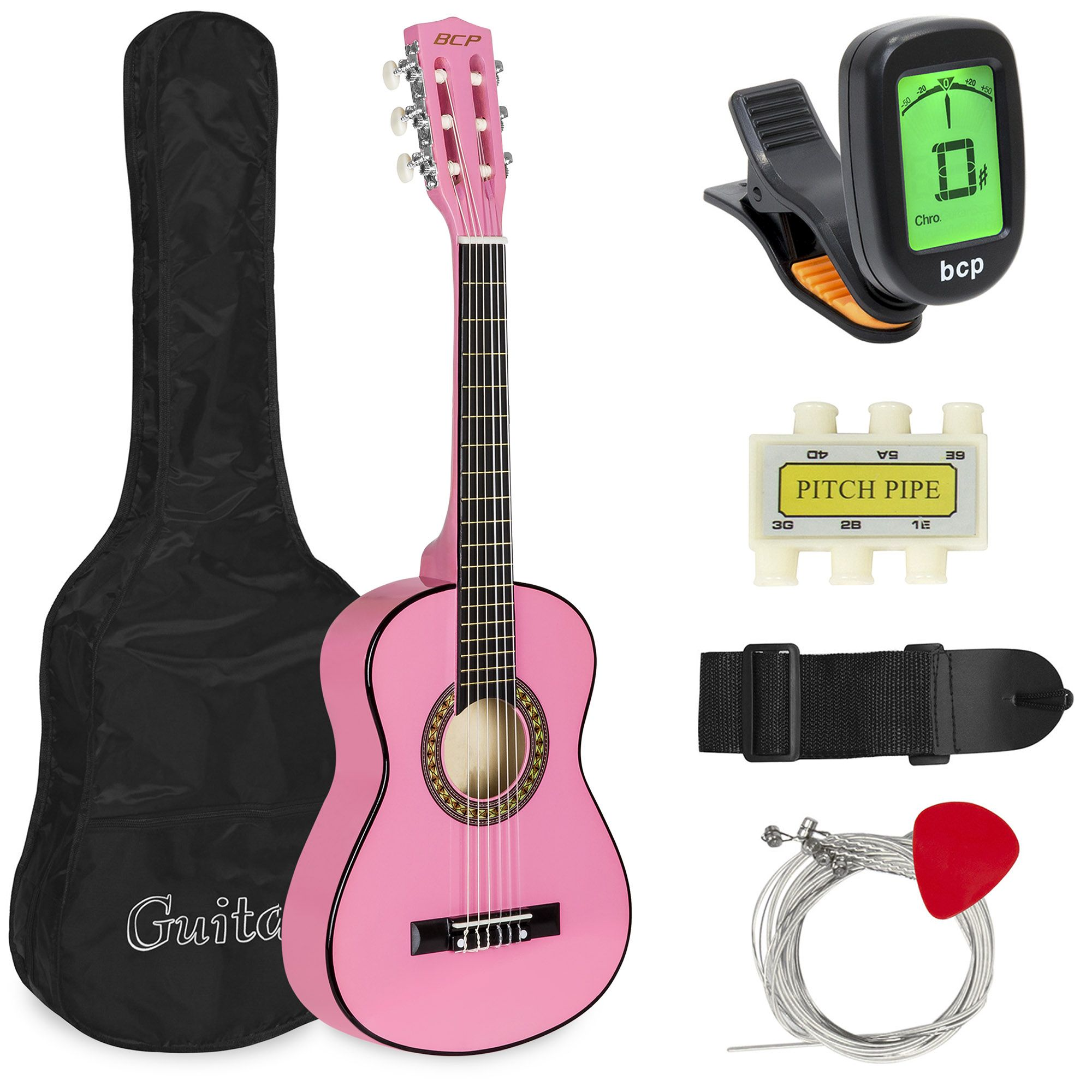 Best Choice Products 30in Kids Acoustic Guitar Beginner Starter Kit With Tuner Strap Case Strings Pink Walmart Com Classical Acoustic Guitar Guitar For Beginners Guitar