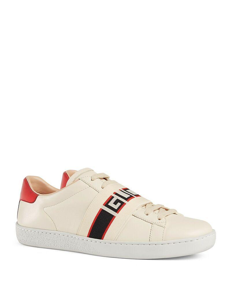 155d7e56d246 eBay  Sponsored NIB Gucci Women s Ace Leather Logo Stripe Sneakers size ...