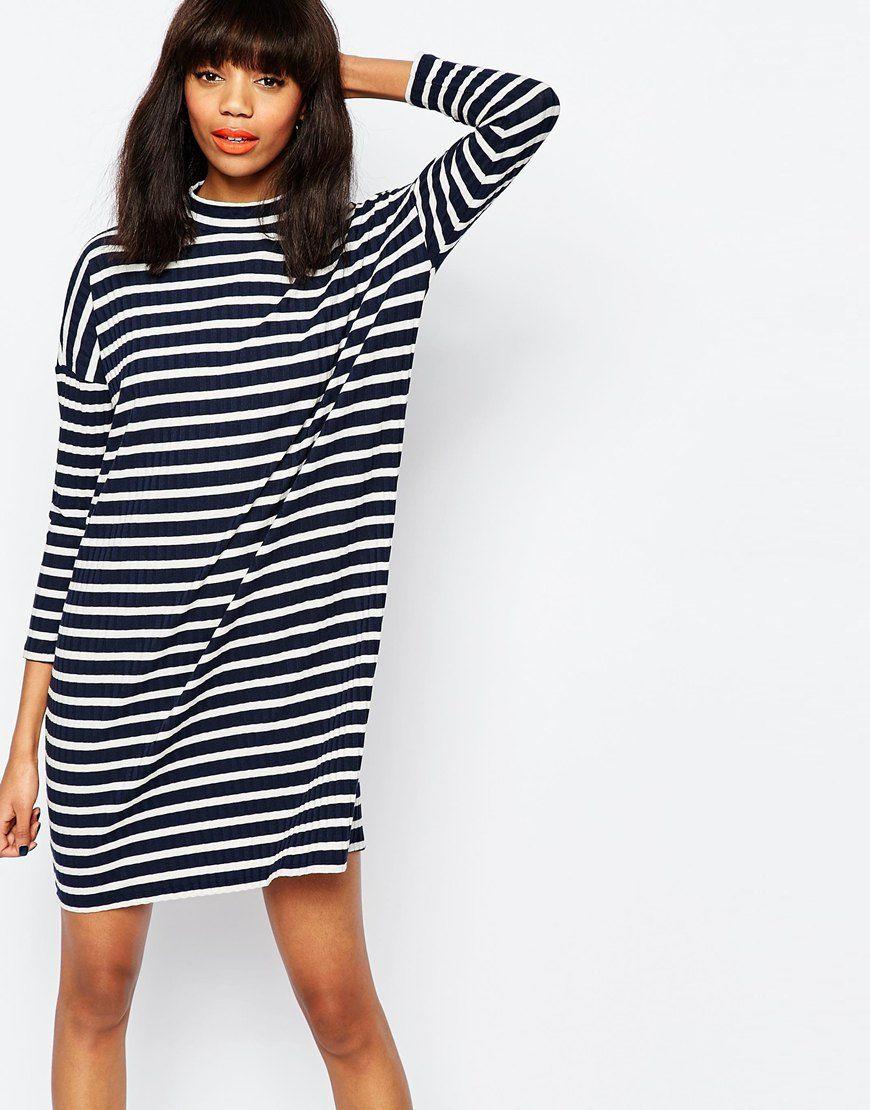 bd63b6bdcc09 Image 1 of Monki Stripe Oversized T-Shirt Dress