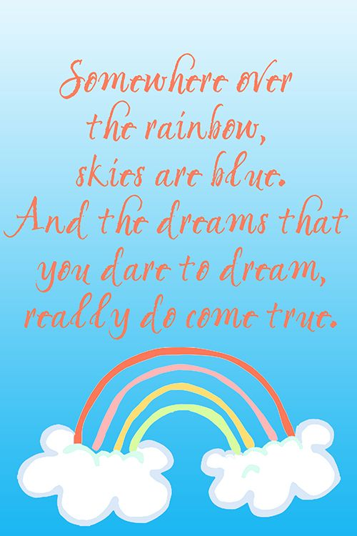 Somewhere Over The Rainbow Print For Nursery Or Kids Room Over 30 More Free Printables In High Resolu Kids Room Printables Quotes For Kids Baby Shower Quotes