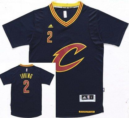 Men s Cleveland Cavaliers  2 Kyrie Irving Revolution 30 Swingman 2015-16 New  Navy Blue Short-Sleeved Jersey 92ae86f77