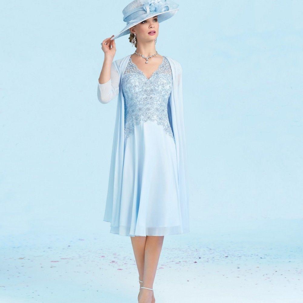 Plus Size V Neck Knee Length Mother of Bride Dress Suit Jacket ...