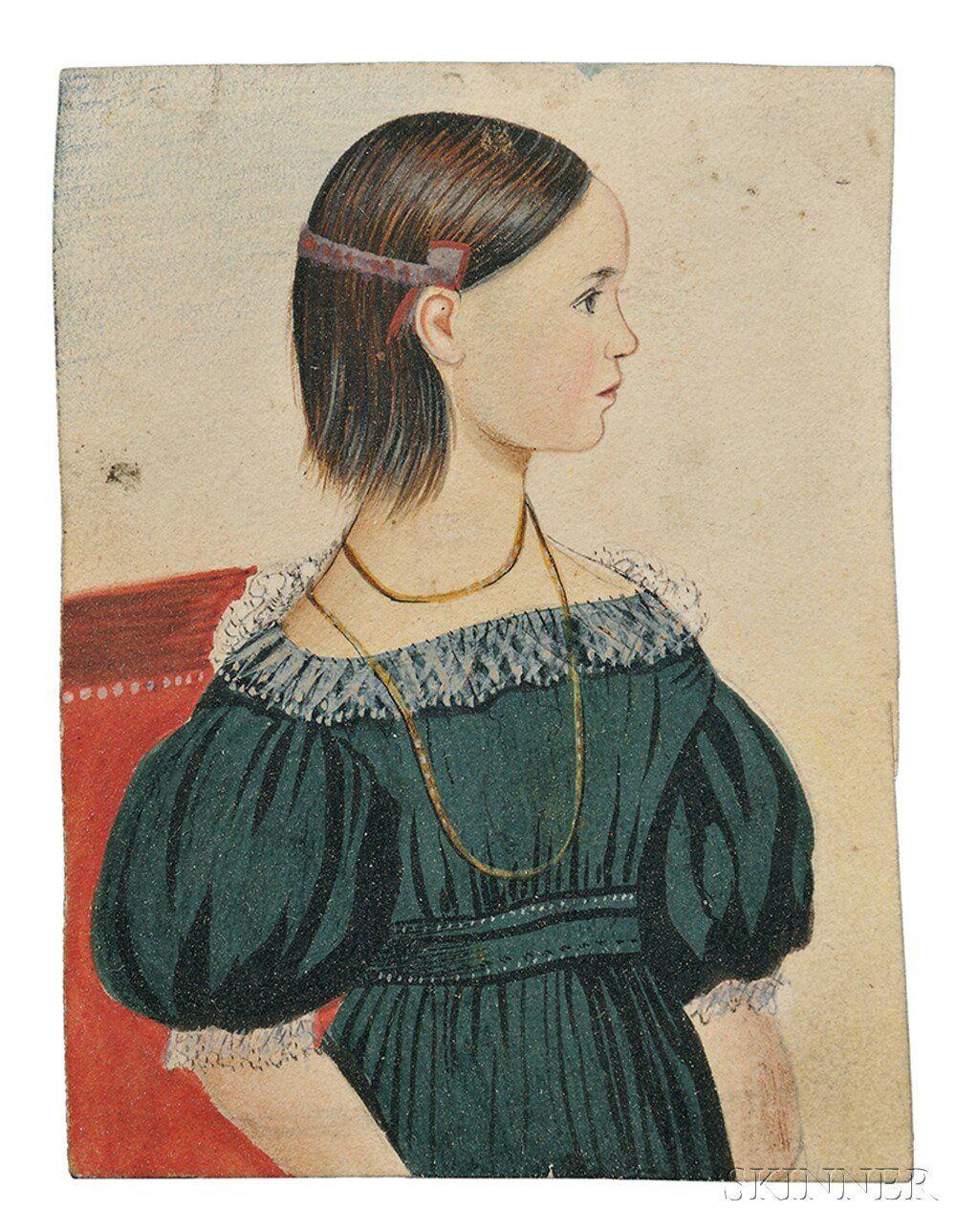 Edwin Plummer (Massachusetts, c. 1802-1880) Four Portraits of Children. | Sale Number 2744M, Lot Number 453 | Skinner Auctioneers