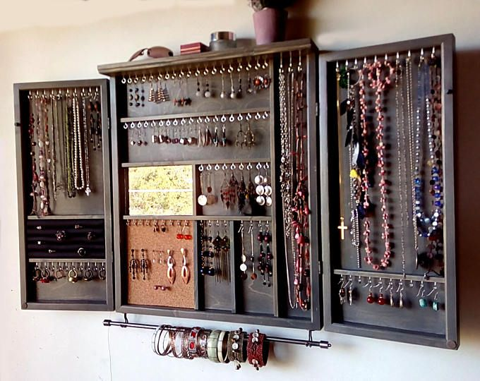 Large Earrings Closet With Shelf Gray Stain Jewelry Storage Wooden Wall Mounted Earring Organizer