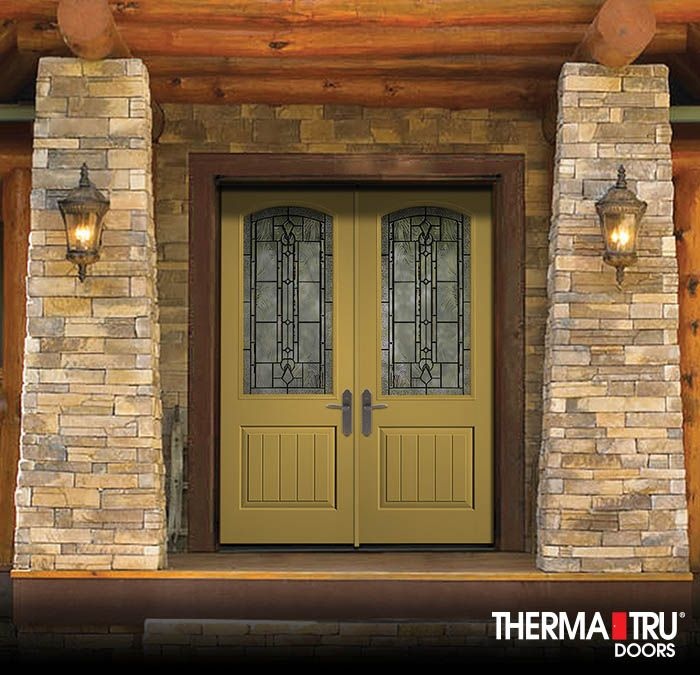 Therma Tru Classic Craft Canvas Collection Fiberglass Doors Painted  Different Gold With Lucerna Decorative Glass.