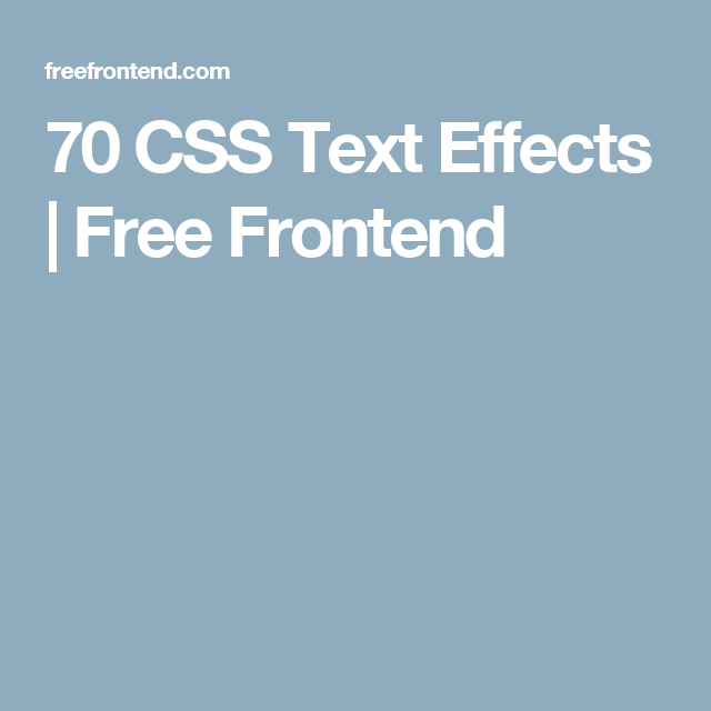 Css Text Effects  Free Frontend  Web Development