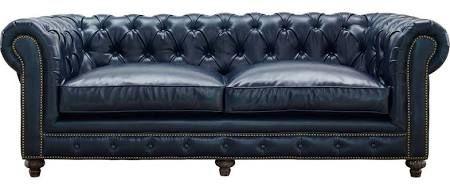 Tov Furniture Durango Rustic Blue Leather Sofa Reclaimed Legs