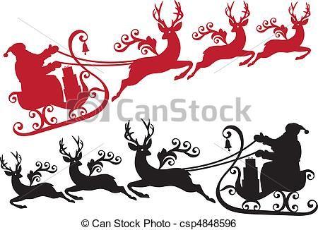 Reindeer Sleigh Clip Art Stock Clip Art Icon Stock Clipart Icons Logo Line Art Printable Christmas Cards Silhouette Christmas Christmas Cards