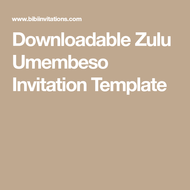 Talana Zulu Umembeso Tradtional Wedding Invitation In 2018