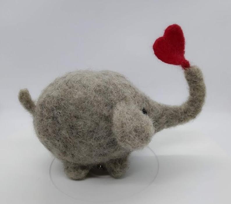 Big Elephant with lovely Heart Detailed Needle felted