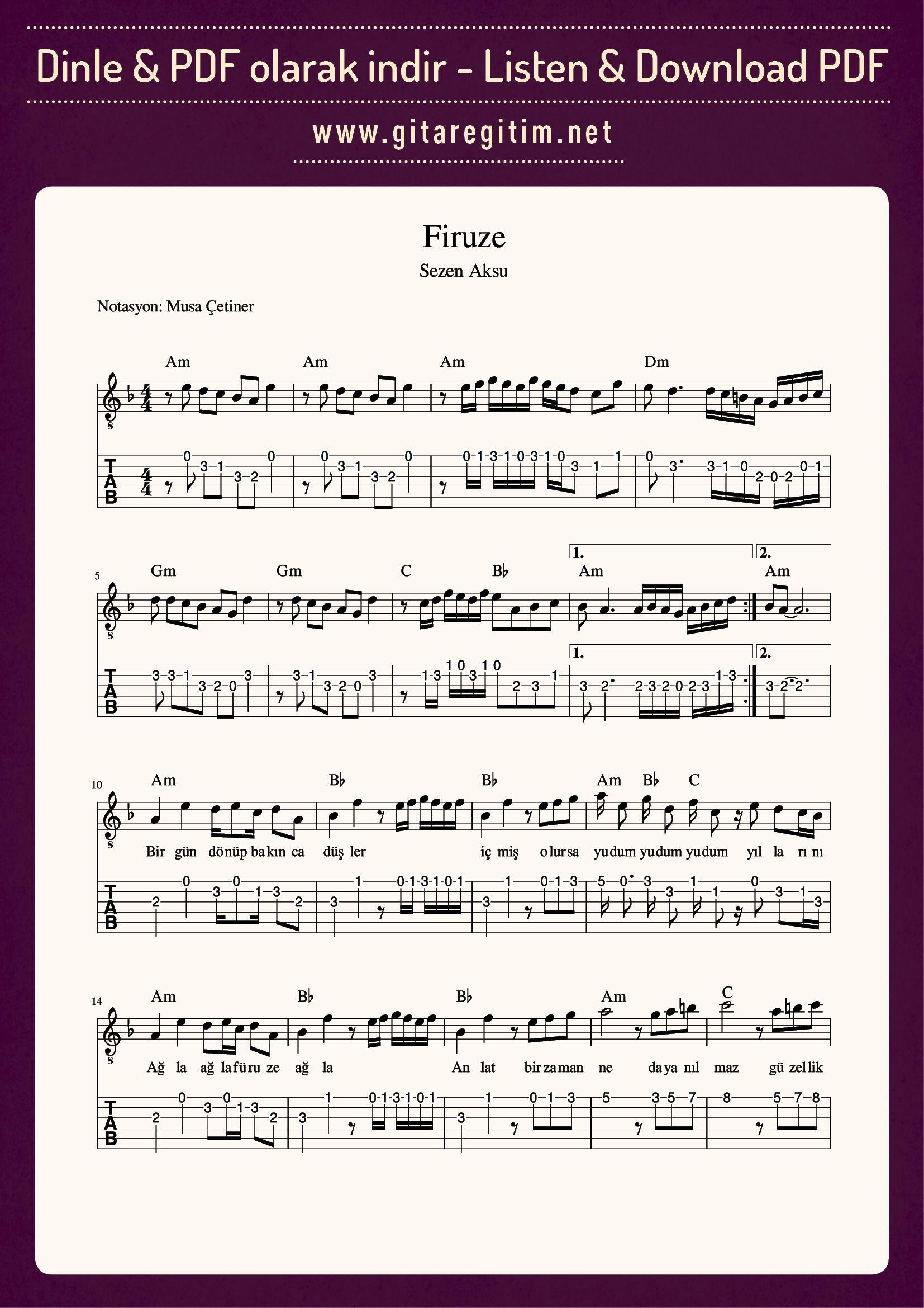 Firuze Nota Tab Gitaregitim Net Notalara Dokulmus Muzik Muzik Notalari Flut