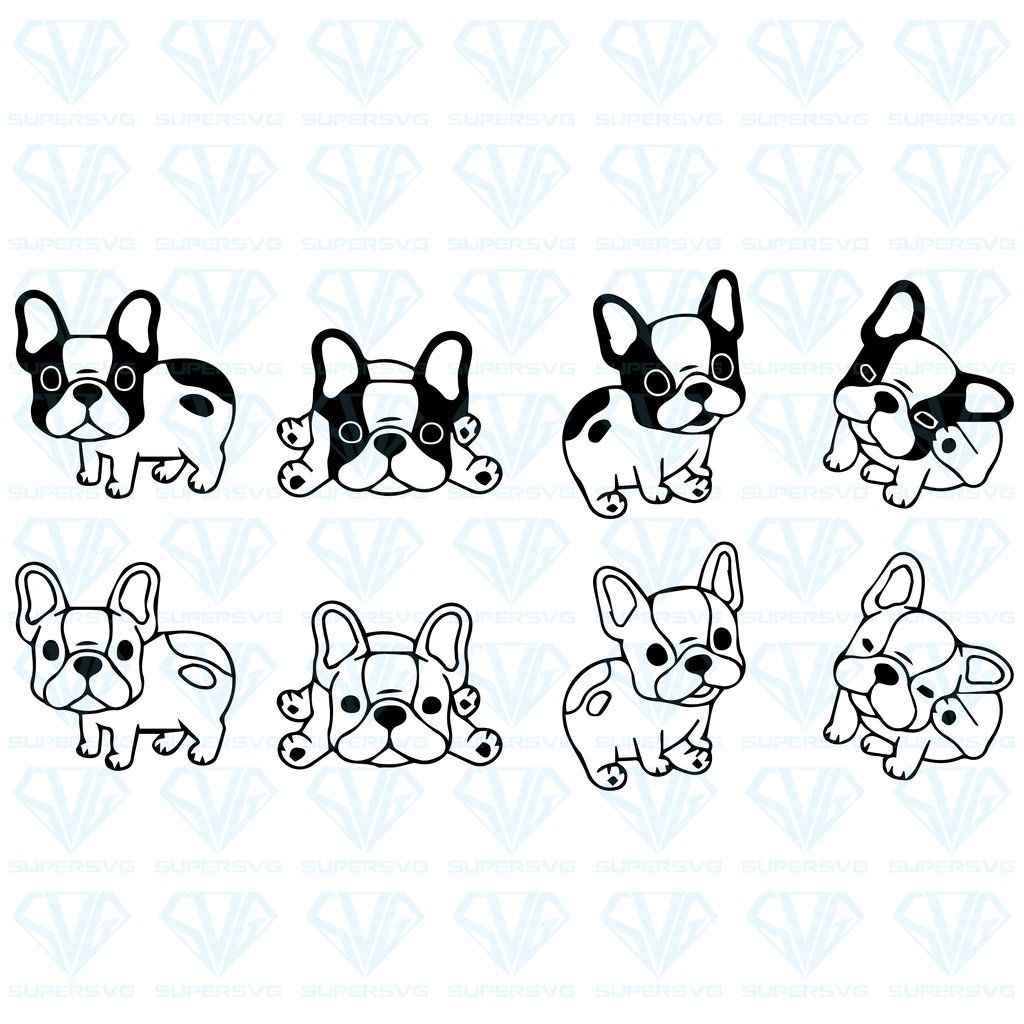 Dog Vector French Bulldog Logo Bundle Svg Files For Silhouette Files For Cricut Svg Dxf Eps Png Instant Download Supersvg French Bulldog Tattoo French Bulldog Cartoon Baby French Bulldog