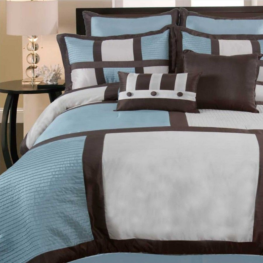 DR International Palermo Box-Pin Tuck 8 Piece Comforter Set in Blue - PABL 2 877