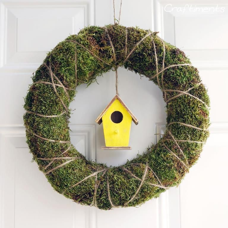 """Use lush green moss and the most adorable yellow birdhouse to bid winter """"adieu!""""Get the tutorial fr... - Craftiments"""