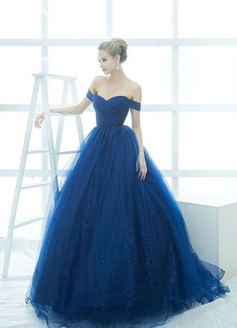 99de03a8c94 Elegant A-Line Off-Shoulder Ball Gown Royal Blue Tulle Long Prom Dress sold  by dressthat. Shop more products from dressthat on Storenvy