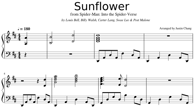 Sunflower - Post Malone & Swae Lee Piano Sheet Music from