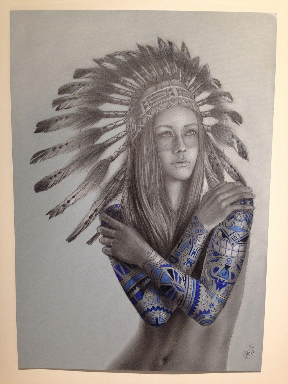 Native Women With Headdress Tattoos