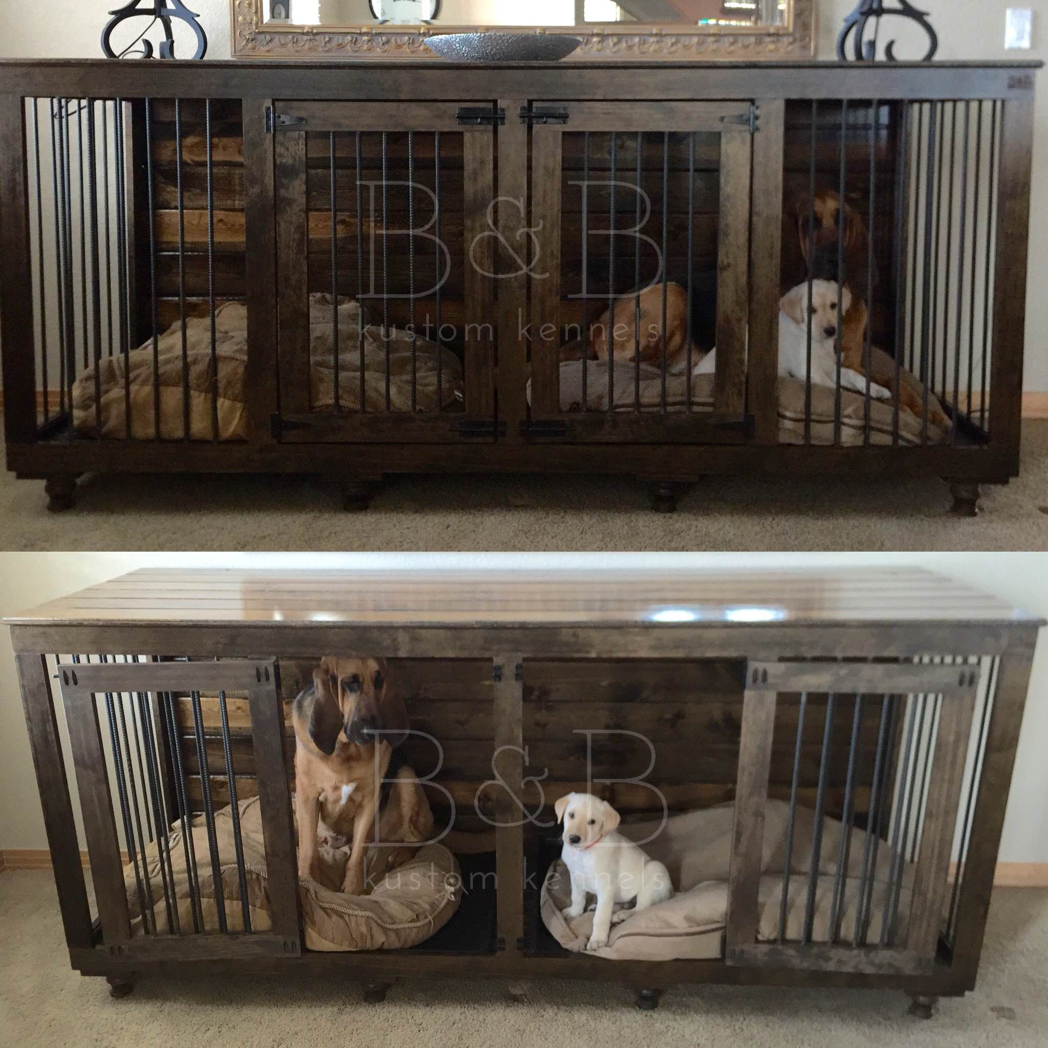 The Double Doggie Den Indoor Rustic Dog Kennel For Two I Wanna