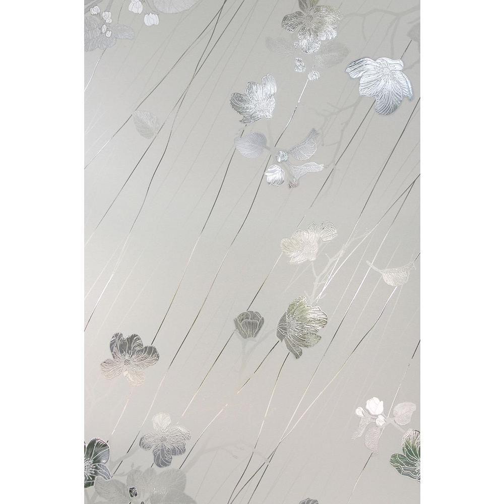 Artscape 24 in. x 36 in. Silver Rose Decorative Window