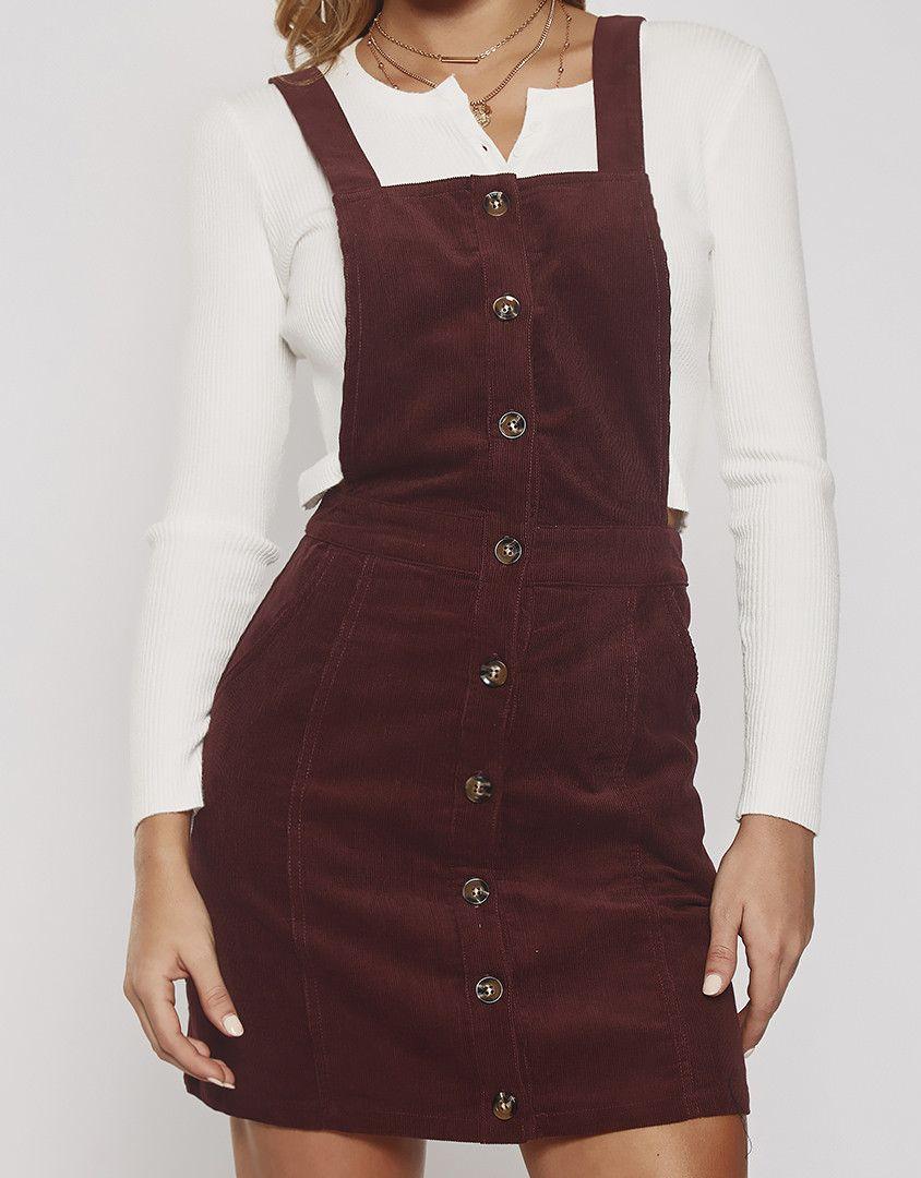 a292736e9e First Time Corduroy Overall Dress ☆ Follow us  popcherryau for more  Popcherry fashion ☆